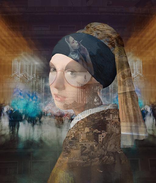 fotograf bogdan botofei colaj photoshop workshop print Lady with a pearl earring Jan Vermeer fotografie design interior tablou galerie arta